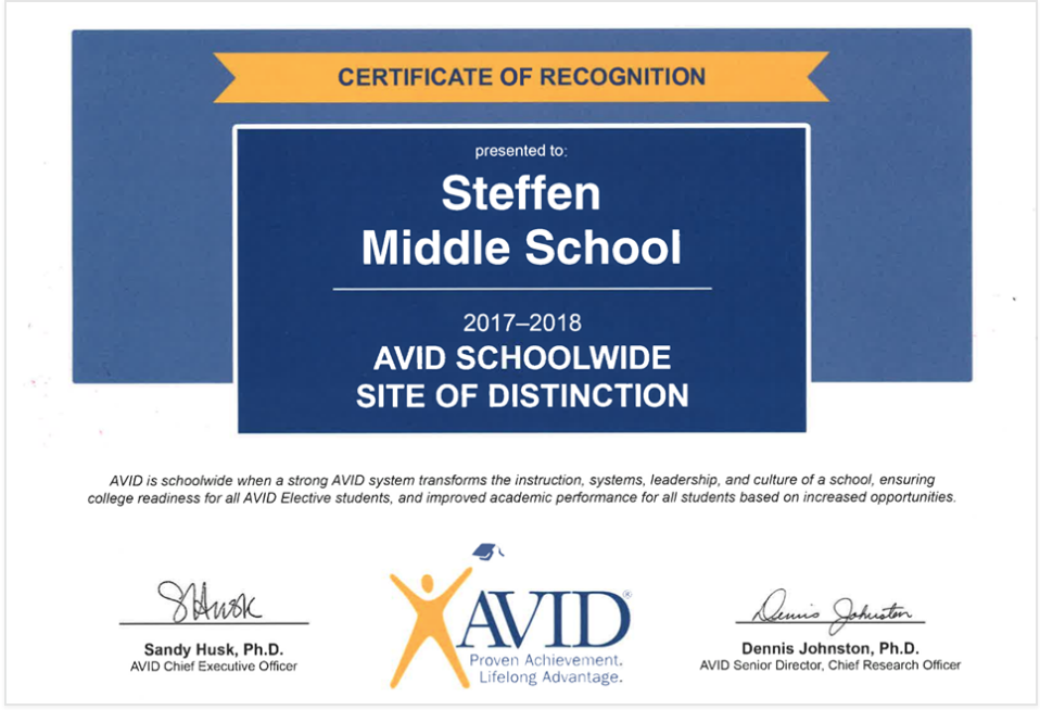 Steffen Named AVID Schoolwide Site of Distinction